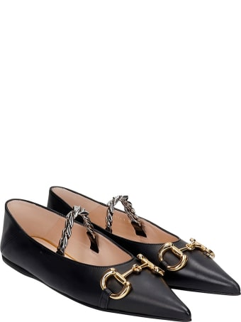 Gucci Ballet Flats In Black Leather
