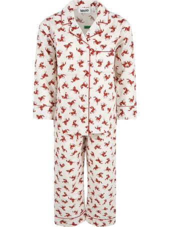 Molo Ivory Pajamas For Kids With Small Horses