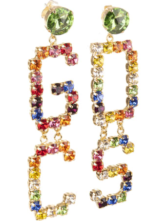 GCDS Crystal-embellished Logo Earrings