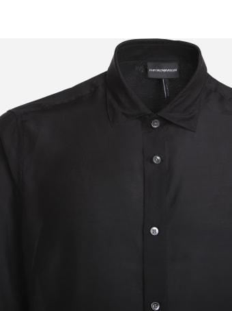 Emporio Armani Basic Shirt Made Of Silk Blend