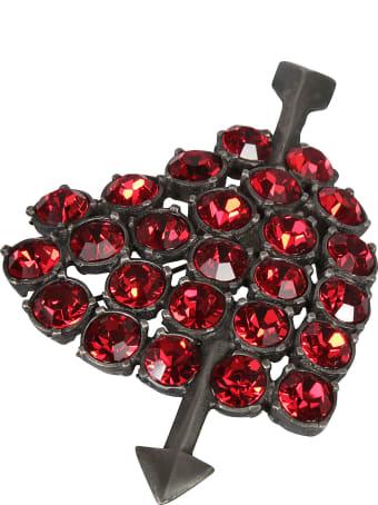 Alessandra Rich Crystal Heart Brooch