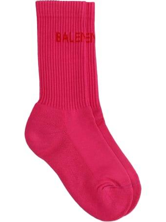 Balenciaga Socks In Rose-pink Cotton
