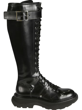 Alexander McQueen Side Buckled Lace-up High Boots
