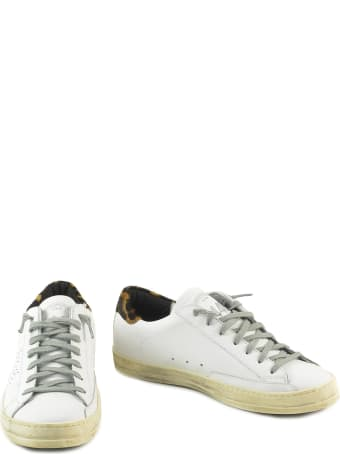 P448 White/leo Print Leather Women's Flat Sneakers