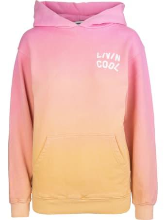 LIVINCOOL Woman Gradient Orange And Pink California Love Hoodie