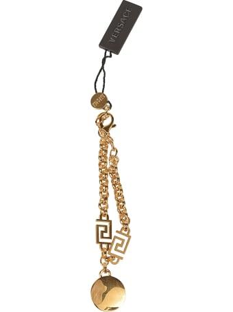 Versace Crystal Embellished Medusa Head Pendant Chain Bracelet