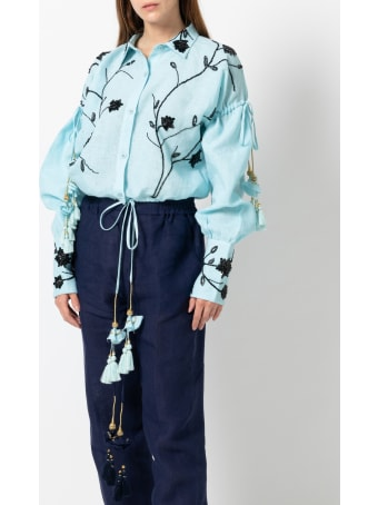 Christian Pellizzari Light Blue Linen Embroidery Shirt