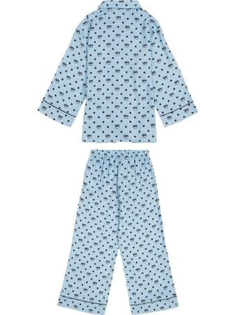 Chiara Ferragni Logomania Blue Viscose Pajamas
