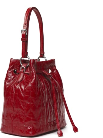 Miu Miu Red Quilted Leather Bucket Bag