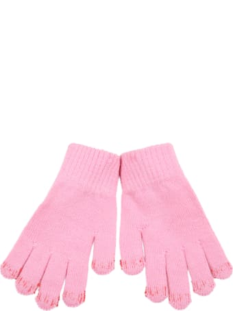 Bobo Choses Pink Gloves For Kids With Logo