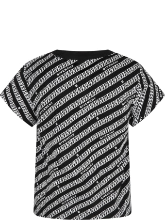 Givenchy Black T-shirt For Kids With Chains