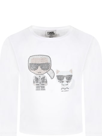 Karl Lagerfeld Kids White T-shirt For Girl With Karl