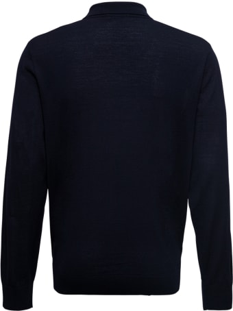 Z Zegna Blue Polo With Long Sleeves In Wool