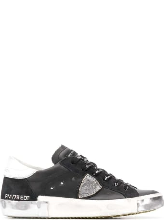 Philippe Model Prsx Low Sneakers In Black Leather
