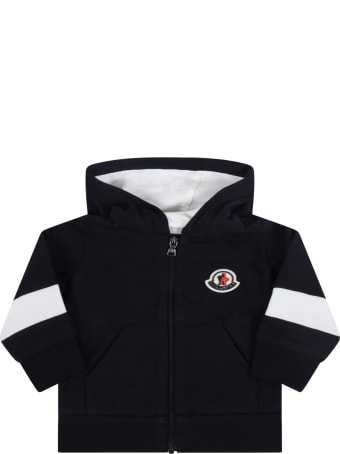 Moncler Blue Sweatshirt For Baby Kids With Iconic Patch