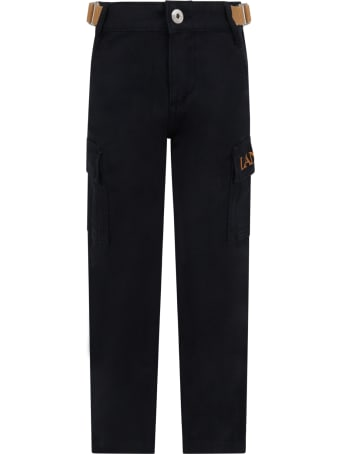 Lanvin Black Cargo-pants For Boy With Logo