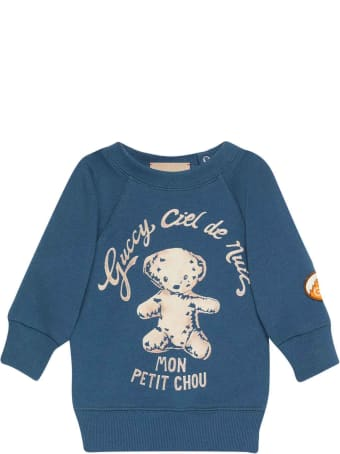 Gucci Blue Sweatshirt With Central Multicolor Press And Round Collar