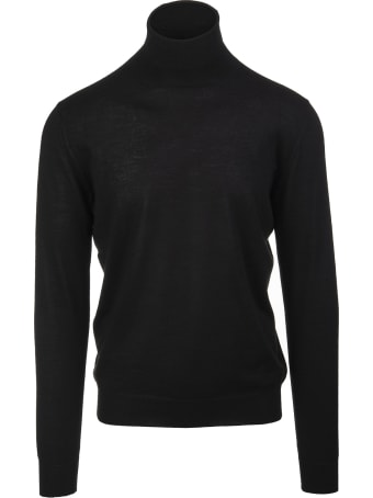 Fedeli Man Black Turtleneck Pullover In Cashmere And Silk