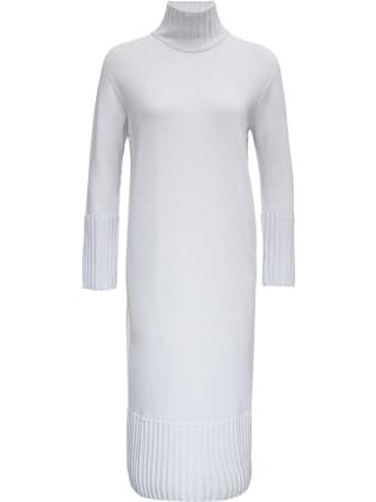 Antonelli Penguin Long White Wool And Silk Dress