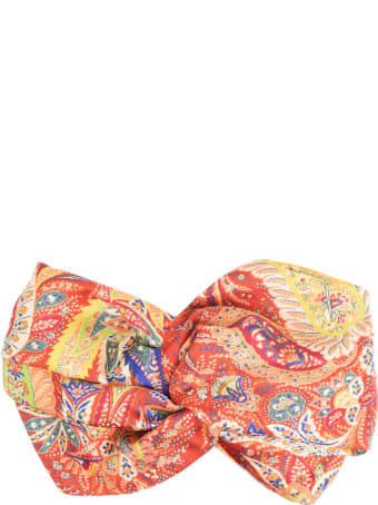 Etro Red Silk Headband With Paisley Print