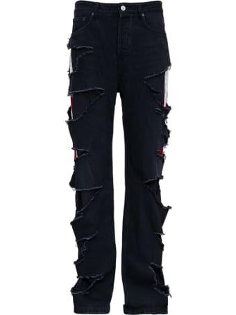 Balenciaga Slashed Loose Organic Denim Trousers