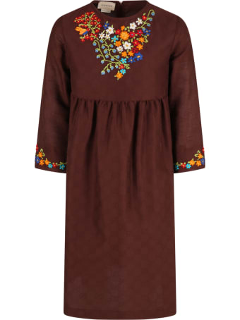 Gucci Brown Dress For Girl With Colorful Flowers