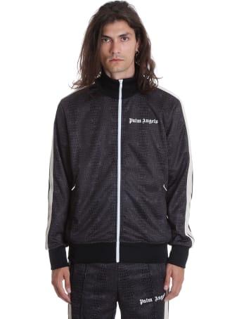 Palm Angels Croco Track  Sweatshirt In Black Polyester