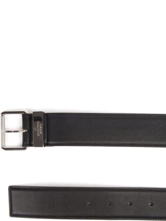 Valentino Garavani Black Leather Valentino Belt