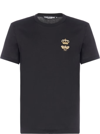 Dolce & Gabbana Bee And Crown Embroidery Cotton T-shirt