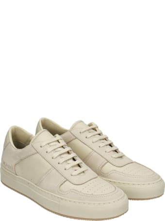 Common Projects Bball Sneakers In Beige Suede And Leather