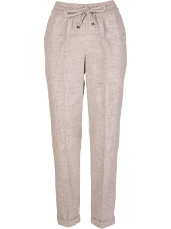 Kiton Woman Sand Prince Of Wales Trousers