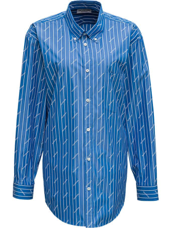 Balenciaga Stripe Logo Cotton Shirt