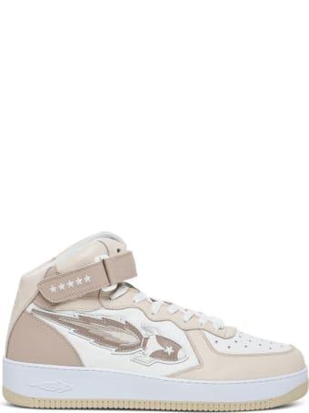 Enterprise Japan Rocket High Sneaker In Beige Leather