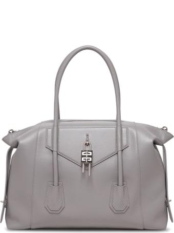 Givenchy Antigona Lock Soft Handbag In Grey Leather