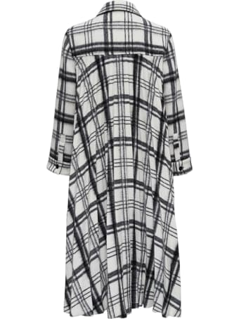 RED Valentino Fluffy Coat In Wool Blend With Black And White Checks