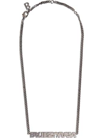 Balenciaga Typo Turn Silver Brass Necklace