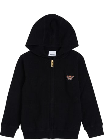 Burberry Black Cashmere Hoodie With Thomas Bear Front Patch