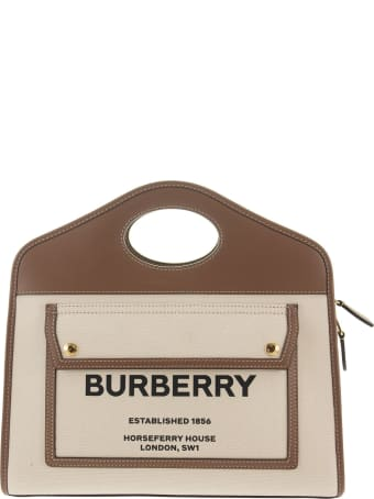 Burberry Small Pocket Tote In Two-tone Canvas And Leather