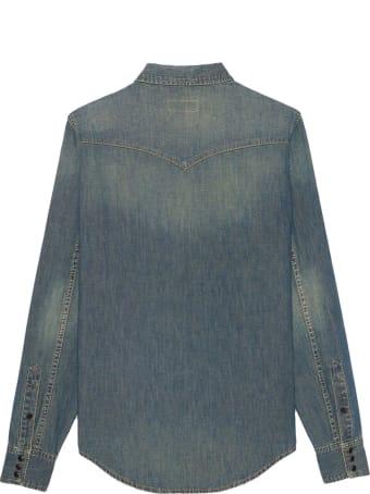 Saint Laurent Shirt In Denim Cotton