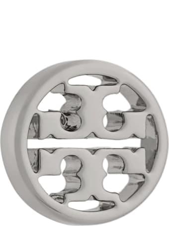 Tory Burch Silver Brass Earrings With Logo
