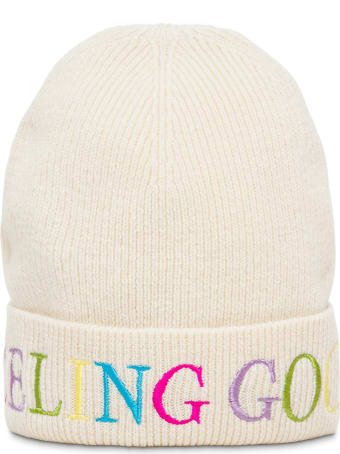 IRENEISGOOD White Wool And Cashmere Hat With Multicolor Logo