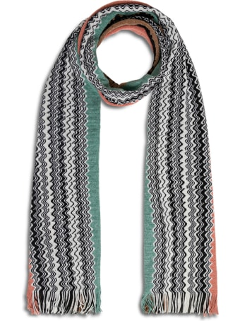 Missoni Multicolor Wool Blend Scarf With Zig Zag Motif