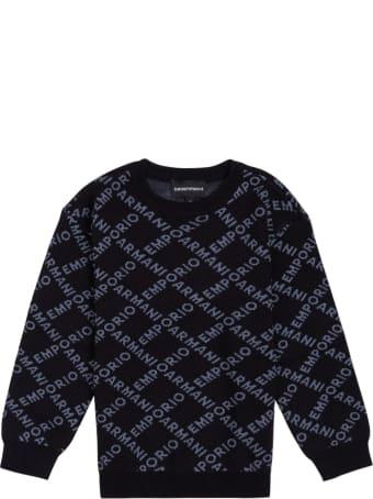 Emporio Armani Black Nylon Blend Sweater With Allover Logo