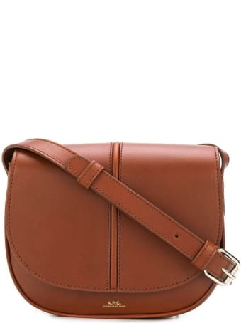 A.P.C. Sac Demi Lune Crossbody Bag In Brown Leather With Logo