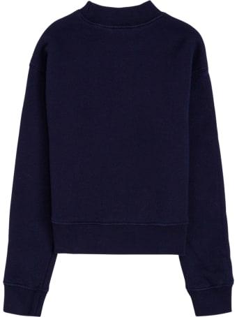 Palm Angels Blue Cotton Crew Neck Sweatshirt With Teddy Bear Print
