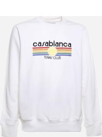 Casablanca Cotton Sweatshirt With Logo Embroidery