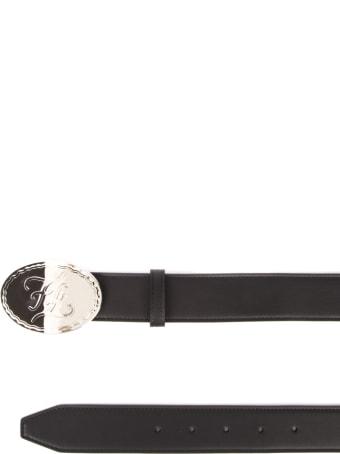 Fendi Embossed Logo Buckle Black Leather Belt