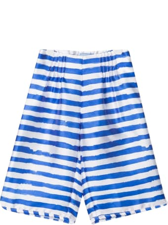 MiMiSol White Shorts With Blue Stripes Mi Mi Sol Kids