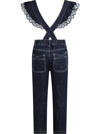 Philosophy di Lorenzo Serafini Blue Dungarees For Girl With Logo