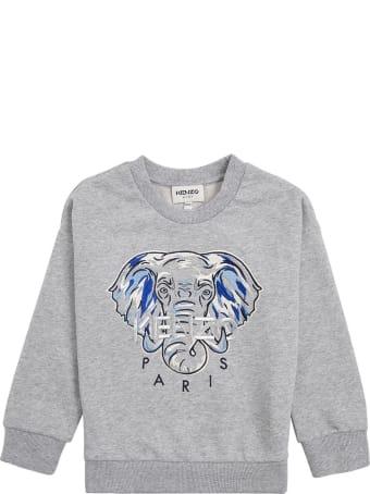 Kenzo Kids Grey Cotton Sweatshirt With Print